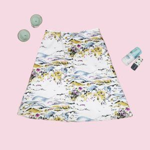 Amanda Smith 100% Silk White Scenery Skirt Size 14